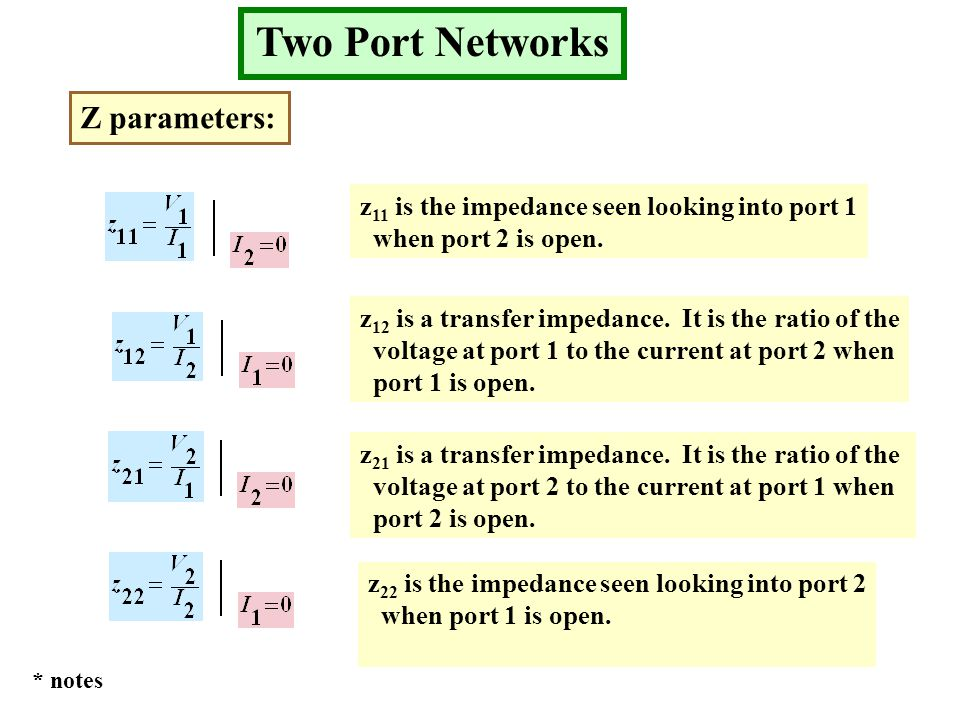 Two Port Networks Z parameters: z 11 is the impedance seen looking into port 1 when port 2 is open.
