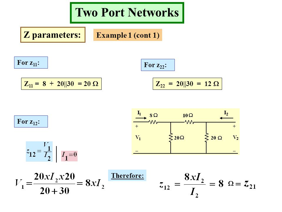 Two Port Networks Z parameters: Example 1 (cont 1) For z 11 : Z 11 = 8 + 20||30 = 20  For z 22 : For z 12 : Z 22 = 20||30 = 12  Therefore:  =