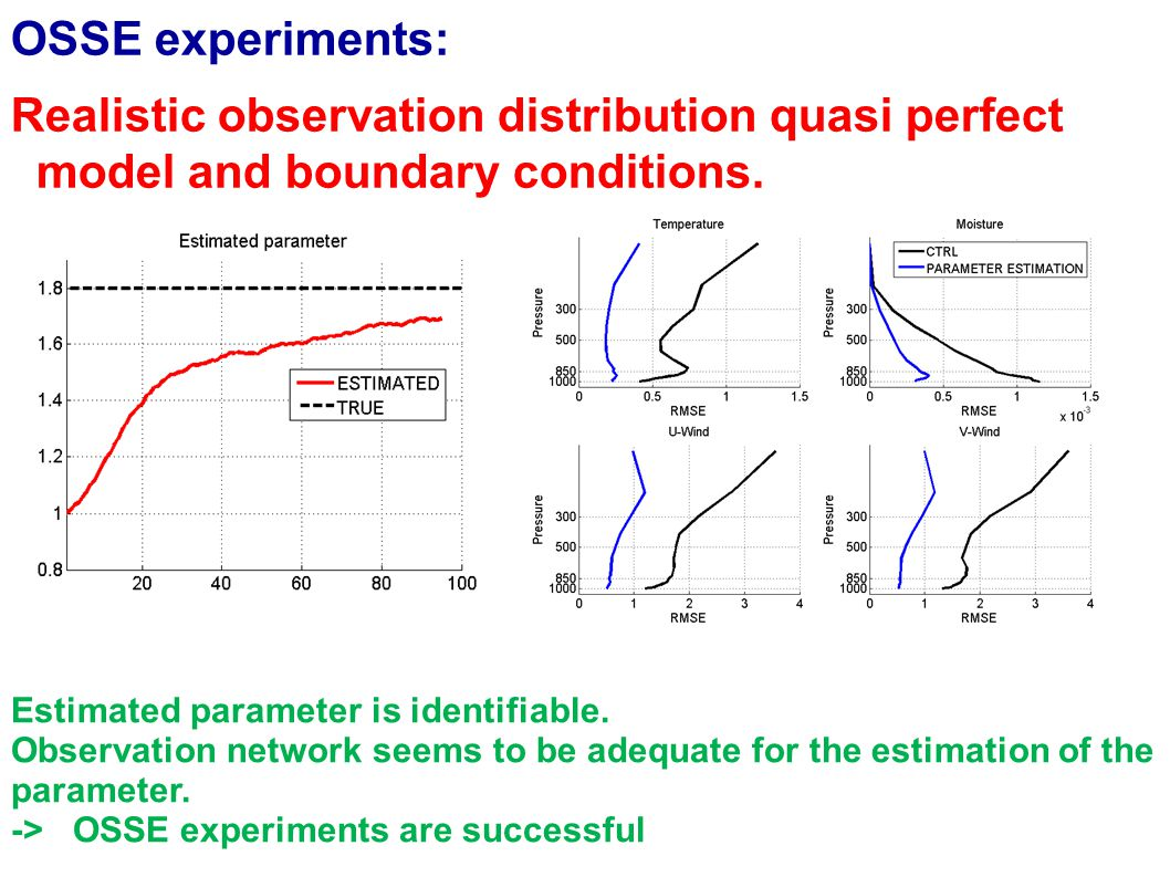 OSSE experiments: Realistic observation distribution, prefect BC but imperfect model Estimated parameter is seems to converge to a different value Error reduction is not as large as in the perfect model scenario but improvements can be found in all variables.