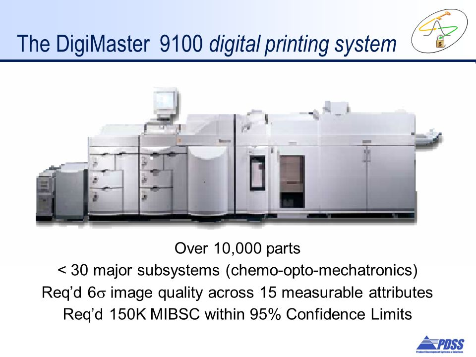 The DigiMaster 9100 digital printing system Over 10,000 parts < 30 major subsystems (chemo-opto-mechatronics) Req'd 6  image quality across 15 measurable attributes Req'd 150K MIBSC within 95% Confidence Limits