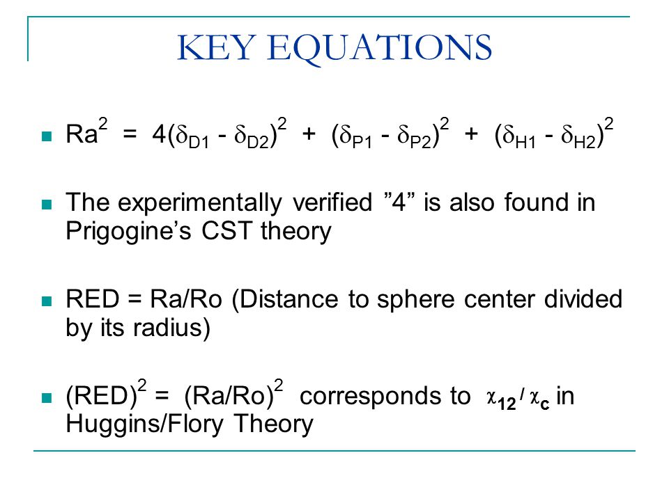 "KEY EQUATIONS Ra 2 = 4(  D1 -  D2 ) 2 + (  P1 -  P2 ) 2 + (  H1 -  H2 ) 2 The experimentally verified ""4"" is also found in Prigogine's CST theor"