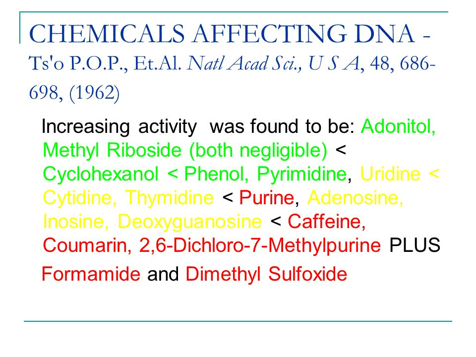 CHEMICALS AFFECTING DNA - Ts'o P.O.P., Et.Al. Natl Acad Sci., U S A, 48, 686- 698, (1962) Increasing activity was found to be: Adonitol, Methyl Ribosi