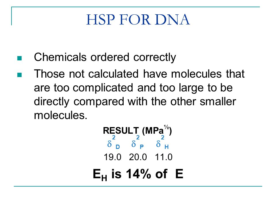 HSP FOR DNA Chemicals ordered correctly Those not calculated have molecules that are too complicated and too large to be directly compared with the ot