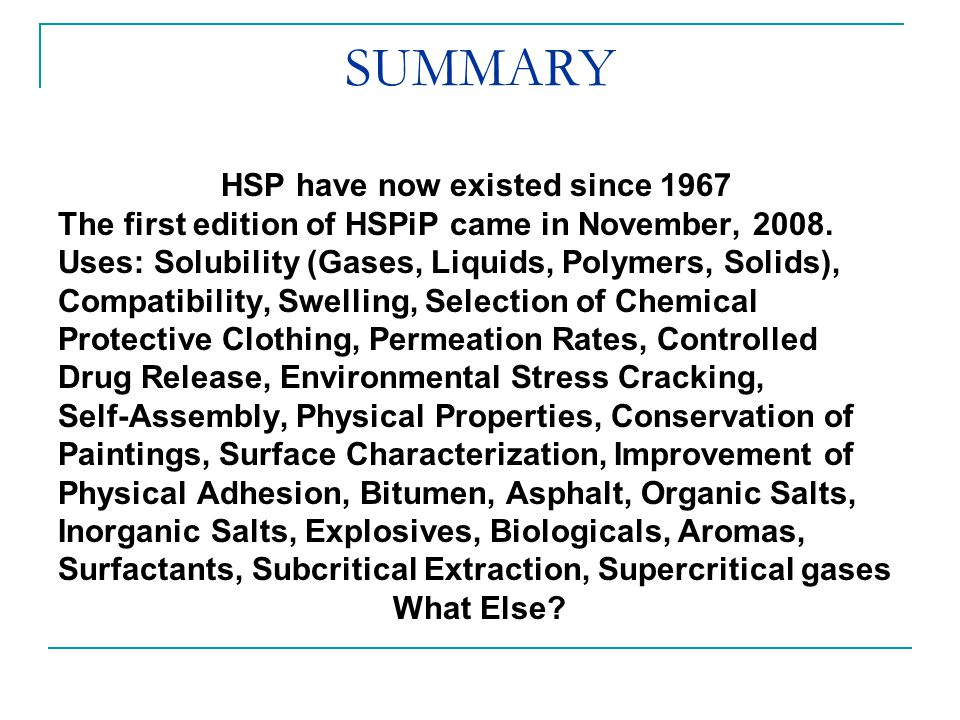 SUMMARY HSP have now existed since 1967 The first edition of HSPiP came in November, 2008. Uses: Solubility (Gases, Liquids, Polymers, Solids), Compat
