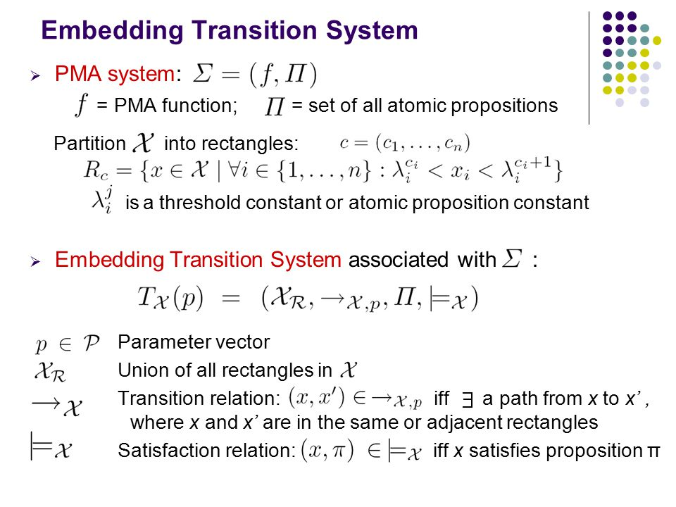 Embedding Transition System  PMA system: = PMA function; = set of all atomic propositions Partition into rectangles: is a threshold constant or atomic proposition constant  Embedding Transition System associated with : Parameter vector Union of all rectangles in Transition relation: iff a path from x to x', where x and x' are in the same or adjacent rectangles Satisfaction relation: iff x satisfies proposition π