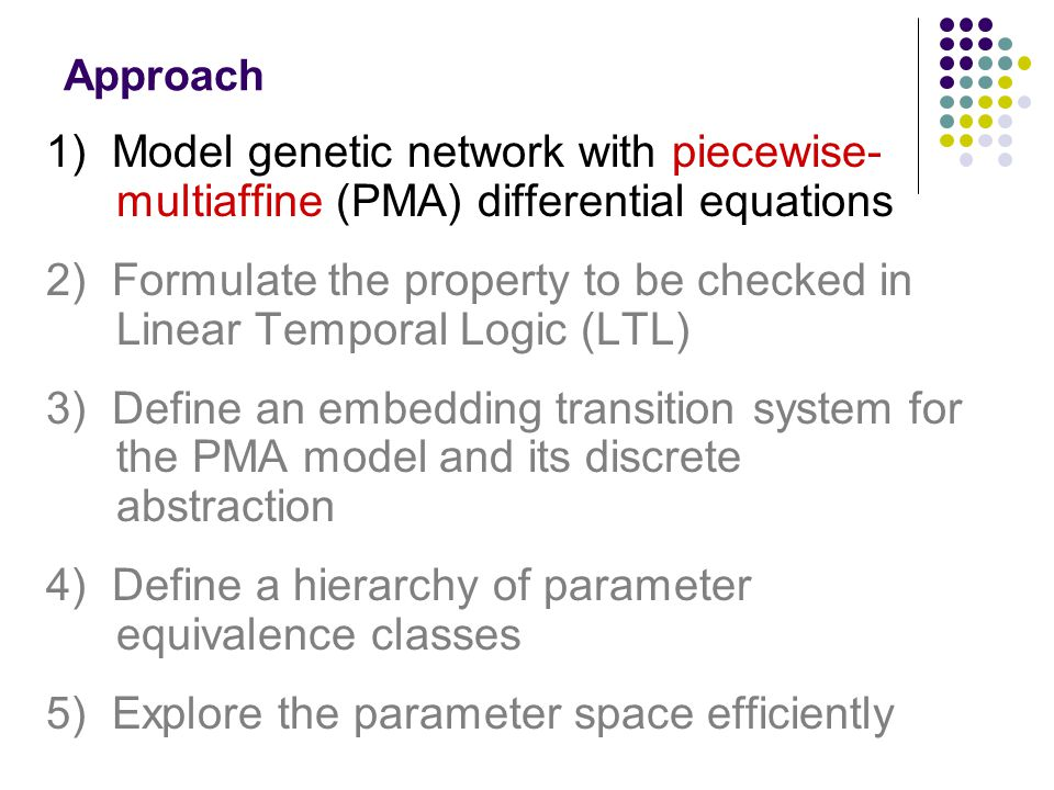 Approach 1) Model genetic network with piecewise- multiaffine (PMA) differential equations 2) Formulate the property to be checked in Linear Temporal Logic (LTL) 3) Define an embedding transition system for the PMA model and its discrete abstraction 4) Define a hierarchy of parameter equivalence classes 5) Explore the parameter space efficiently