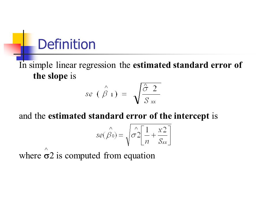 Definition In simple linear regression the estimated standard error of the slope is and the estimated standard error of the intercept is where  2 is computed from equation