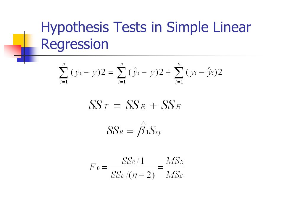 Hypothesis Tests in Simple Linear Regression