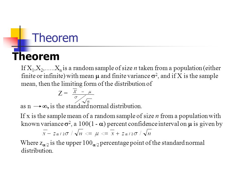 Theorem If X 1,X 2,…..X n is a random sample of size n taken from a population (either finite or infinite) with mean  and finite variance  2, and if X is the sample mean, then the limiting form of the distribution of Z = as n , is the standard normal distribution.