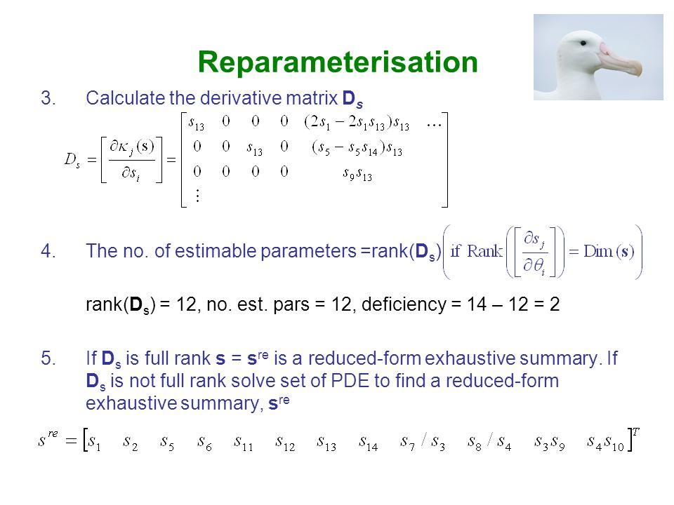 Reparameterisation 3.Calculate the derivative matrix D s 4.The no.