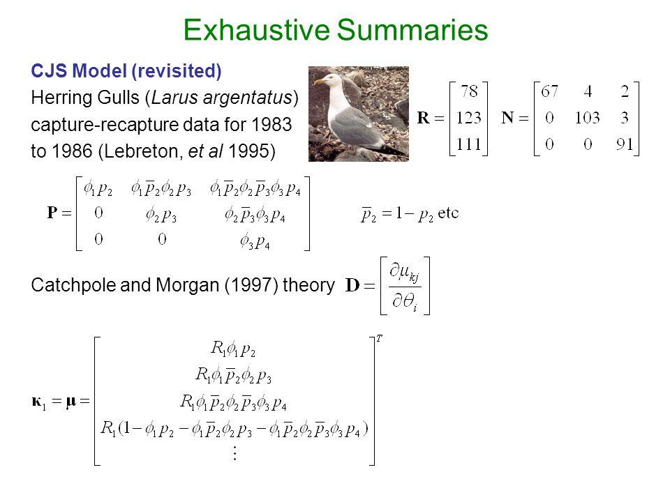 Exhaustive Summaries CJS Model (revisited) Herring Gulls (Larus argentatus) capture-recapture data for 1983 to 1986 (Lebreton, et al 1995) Catchpole and Morgan (1997) theory