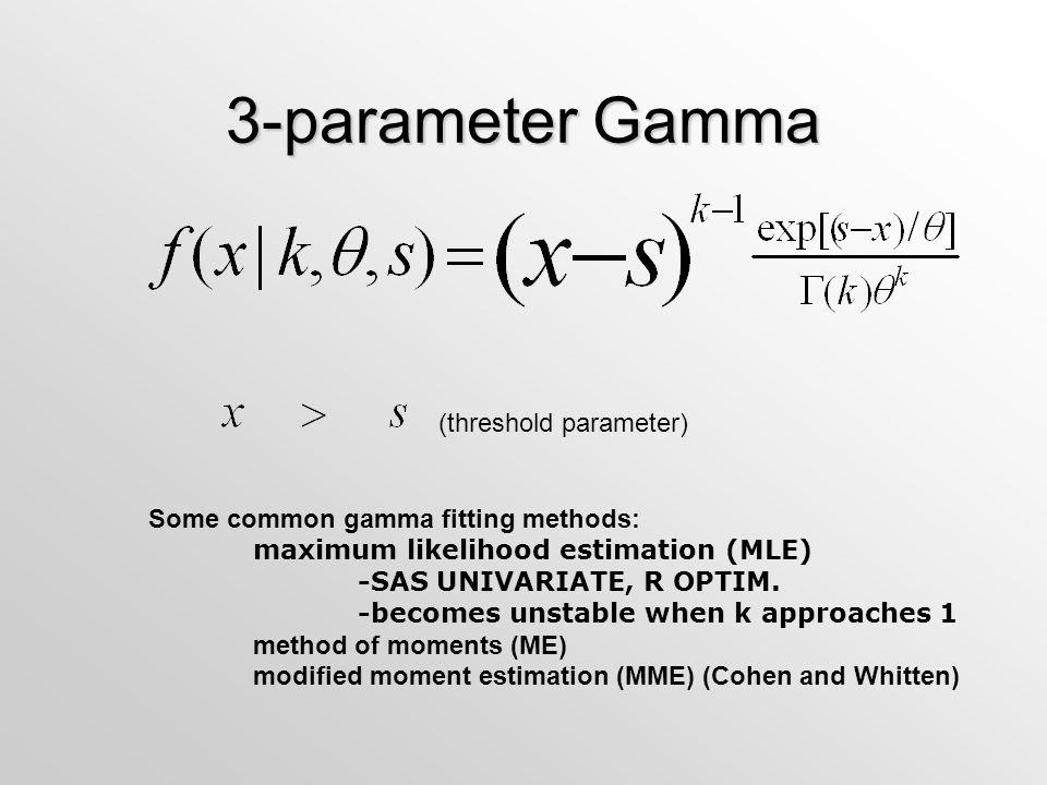 3-parameter Gamma (threshold parameter) Some common gamma fitting methods: maximum likelihood estimation (MLE) -SAS UNIVARIATE, R OPTIM.