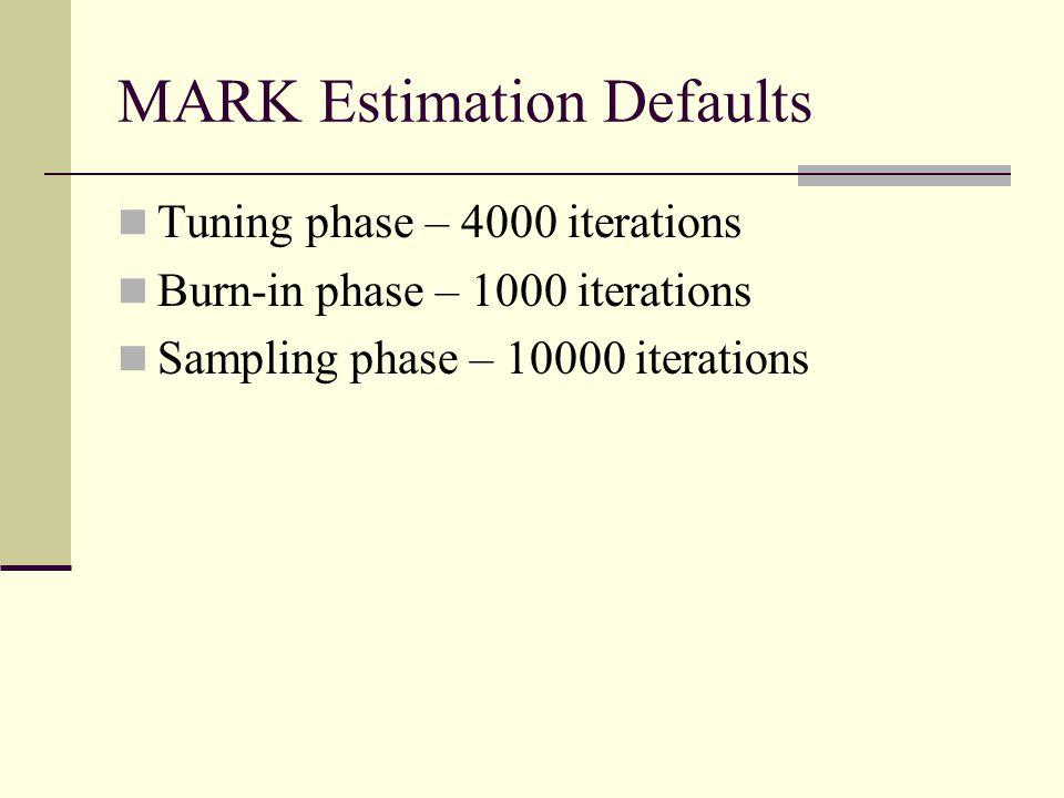 MARK Estimation Defaults Tuning phase – 4000 iterations Burn-in phase – 1000 iterations Sampling phase – 10000 iterations