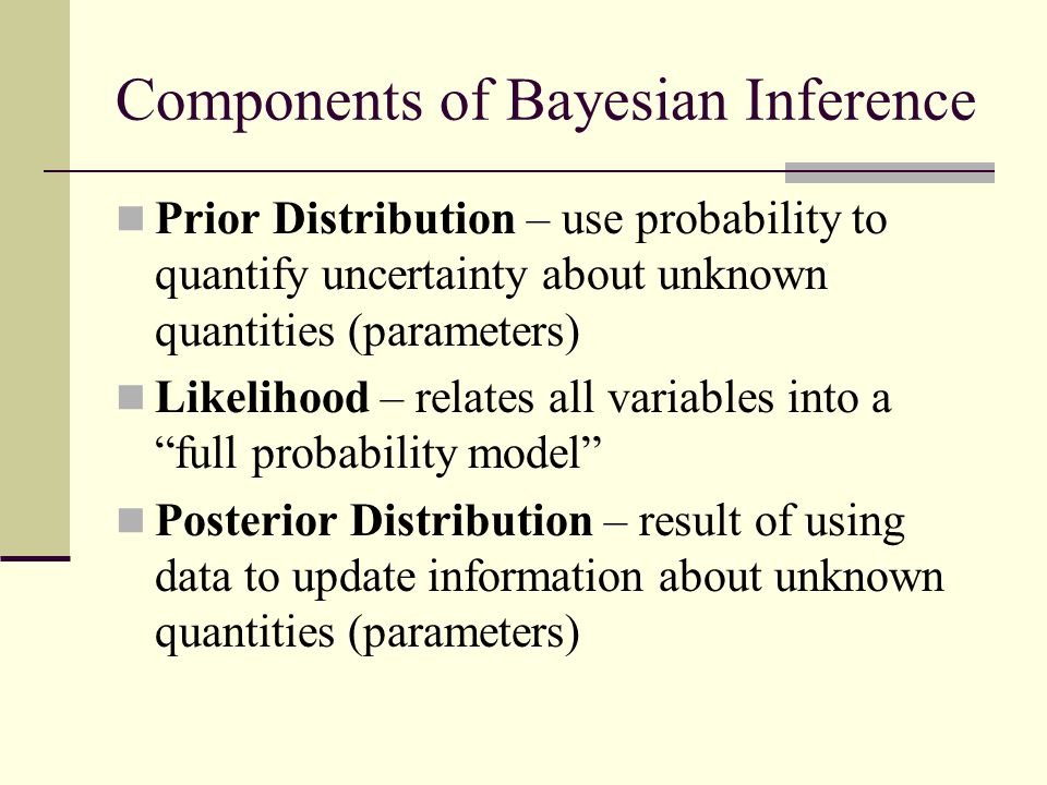 Components of Bayesian Inference Prior Distribution – use probability to quantify uncertainty about unknown quantities (parameters) Likelihood – relat