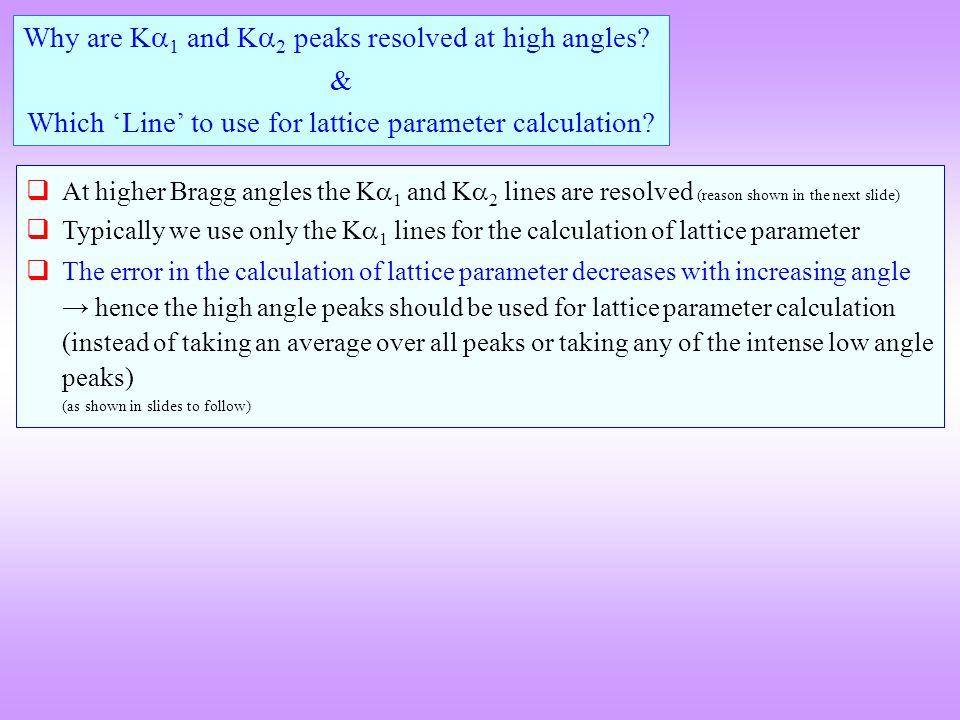  The K  1 (Cu Kα1 = 1.540598 Å) and K  2 (Cu Kα2 = 1.54439 Å) lines differ slightly in wavelength.