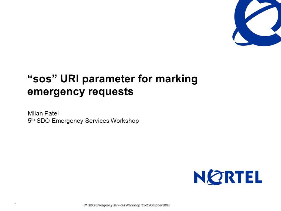 2 5 th SDO Emergency Services Workshop 21-23 October 2008 Agenda 3GPP emergency registration Issues in 3GPP emergency services solution sos URI parameter Alternative solutions