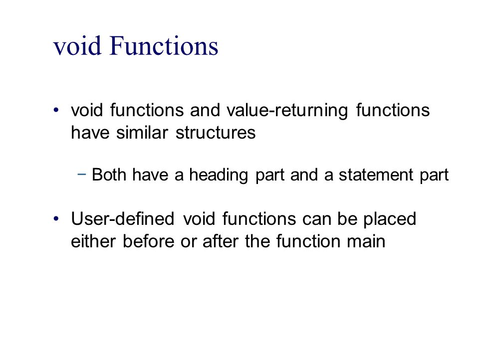 Static and Automatic Variables (continued) The syntax for declaring a static variable is: static dataType identifier; The statement static int x; declares x to be a static variable of the type int Static variables declared within a block are local to the block Their scope is the same as any other local identifier of that block