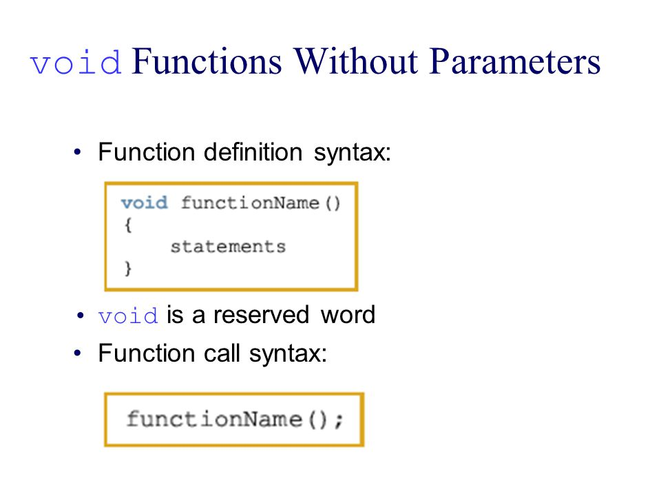void Functions Without Parameters Function definition syntax: void is a reserved word Function call syntax: