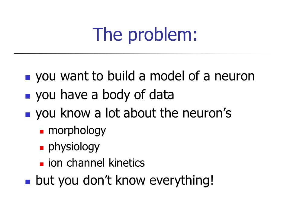 The problem: you want to build a model of a neuron you have a body of data you know a lot about the neuron's morphology physiology ion channel kinetics but you don't know everything!