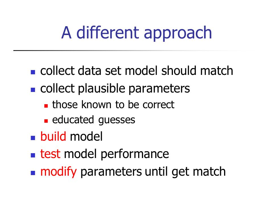 A different approach collect data set model should match collect plausible parameters those known to be correct educated guesses build model test model performance modify parameters until get match