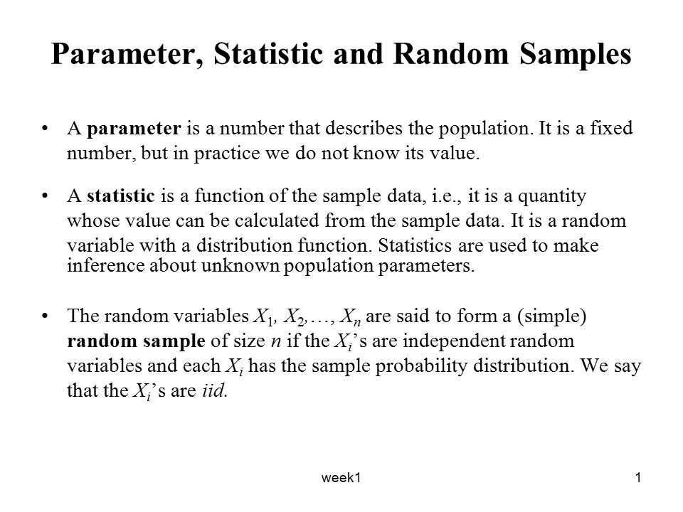 week12 Example – Sample Mean and Variance Suppose X 1, X 2,…, X n is a random sample of size n from a population with mean μ and variance σ 2.