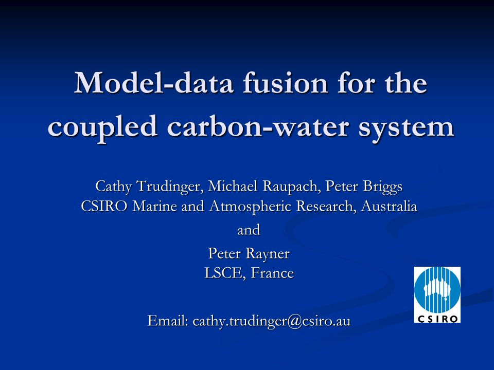 Outline Model-data fusion (= data assimilation + parameter estimation) Model-data fusion (= data assimilation + parameter estimation) Parameter estimation with the Kalman filter Parameter estimation with the Kalman filter Australian Water Availability Project Australian Water Availability Project OptIC project – Optimisation Intercomparison OptIC project – Optimisation Intercomparison