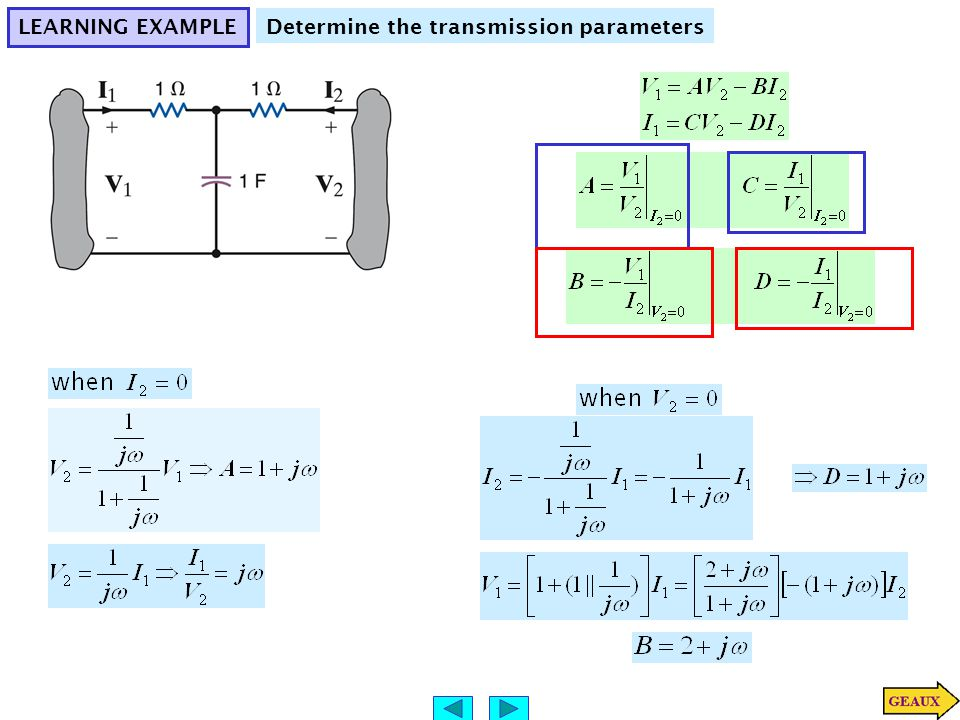 LEARNING EXAMPLE Determine the transmission parameters