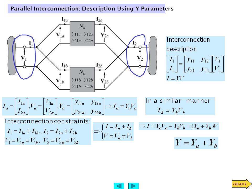 Parallel Interconnection: Description Using Y Parameters