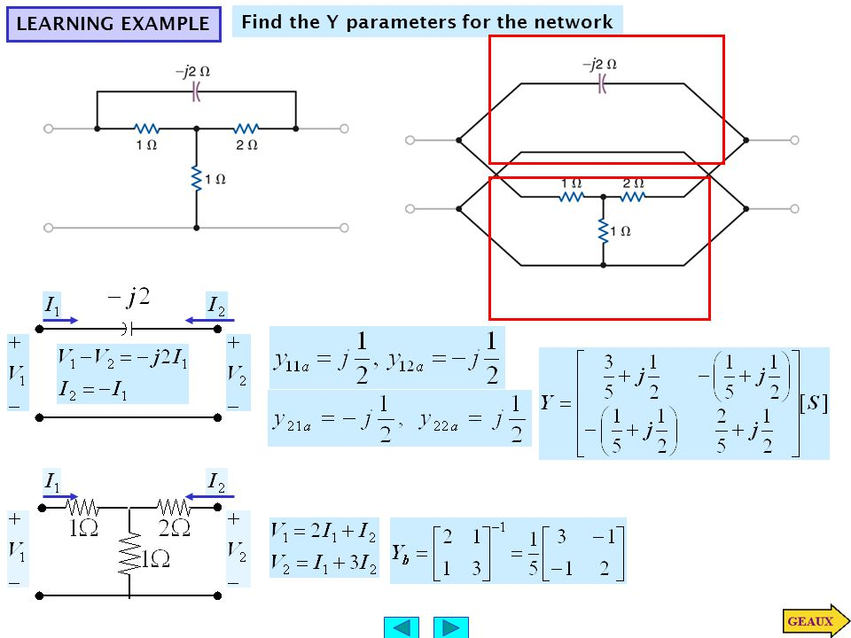 LEARNING EXAMPLE Find the Y parameters for the network