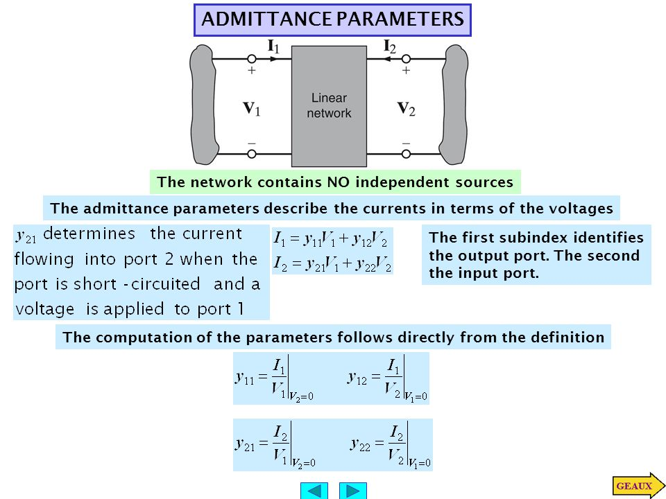 ADMITTANCE PARAMETERS The admittance parameters describe the currents in terms of the voltages The first subindex identifies the output port.