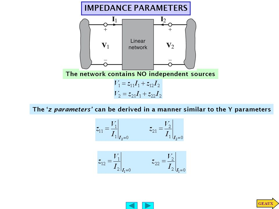 IMPEDANCE PARAMETERS The network contains NO independent sources The 'z parameters' can be derived in a manner similar to the Y parameters