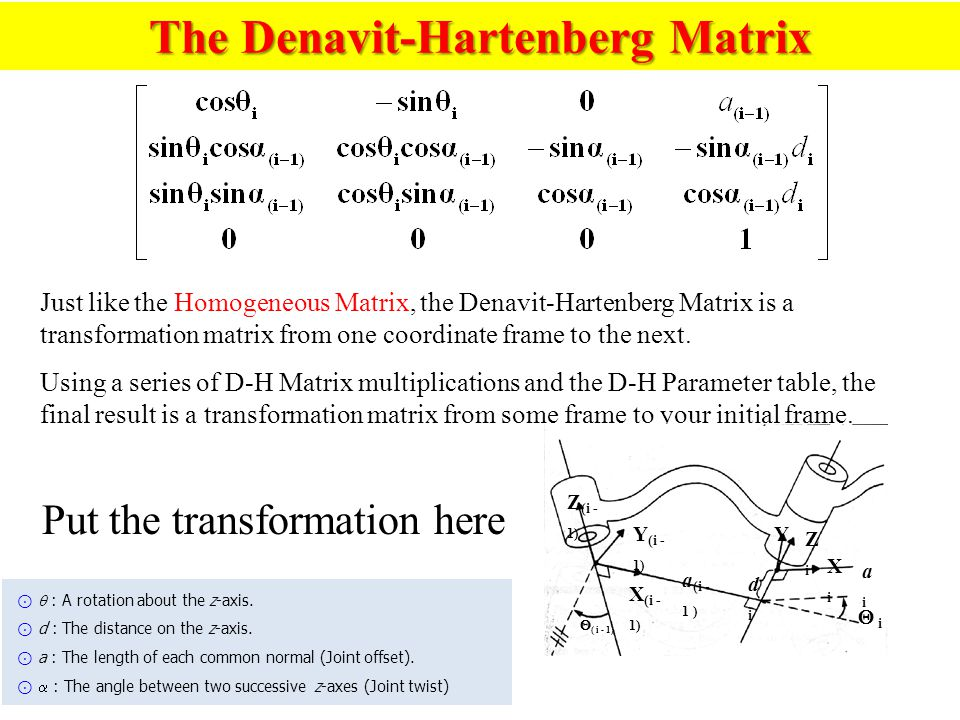 The Denavit-Hartenberg Matrix Just like the Homogeneous Matrix, the Denavit-Hartenberg Matrix is a transformation matrix from one coordinate frame to