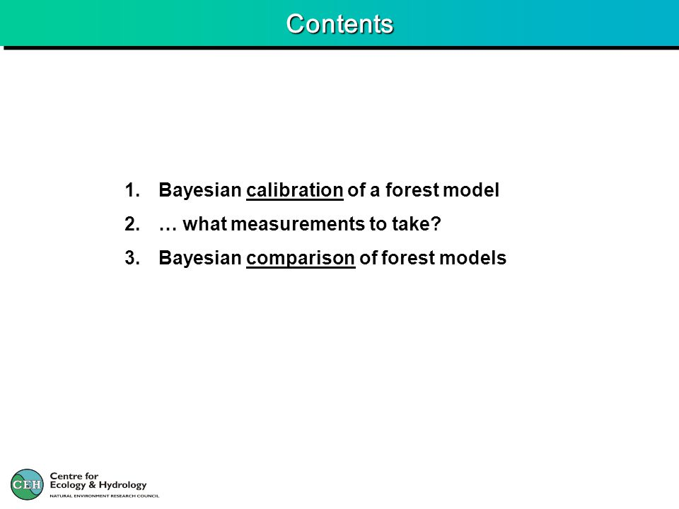 1. Bayesian calibration of a forest model