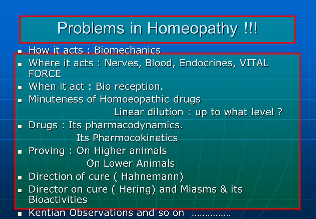 Problems in Homeopathy !!.