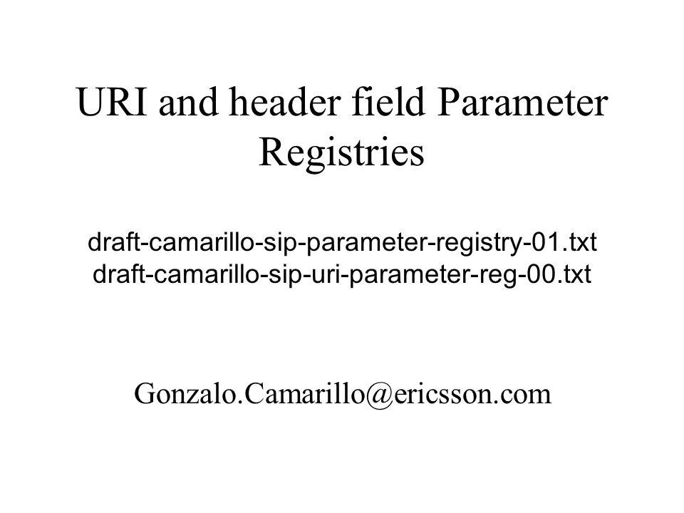 Parameters to be registered RFC 3261 did not define an IANA registry for parameters –URI parameters sip:alice@atlanta.com;comp=sigcomp –Header field parameters Via: SIP/2.0/UDP server1.foo.com:5060 ;branch=z9hG4bK87a7;comp=sigcomp