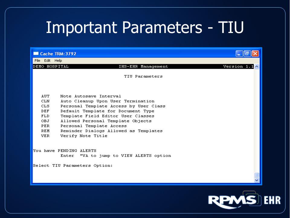 Important Parameters - TIU