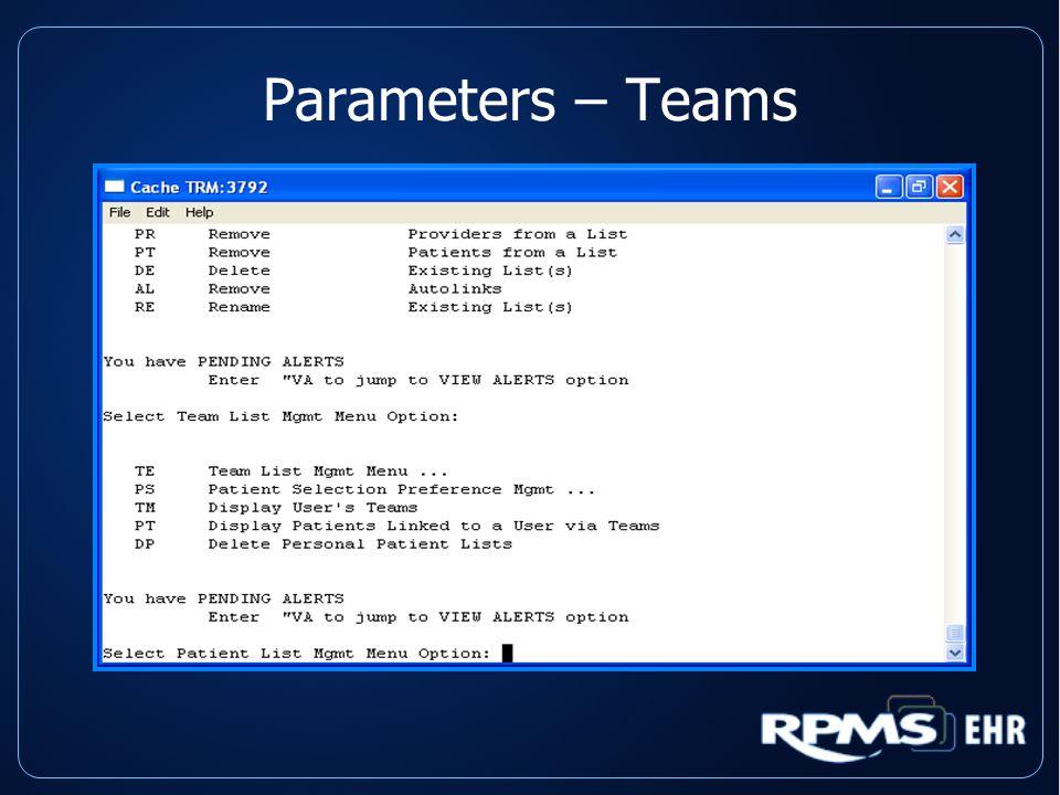 Parameters – Teams