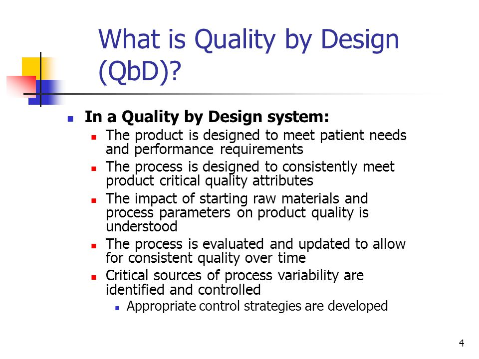 4 What is Quality by Design (QbD).