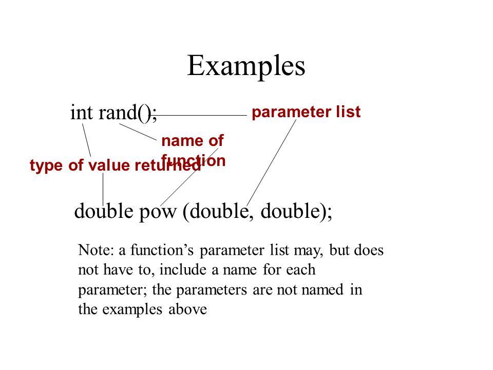 Examples int rand(); type of value returned name of function parameter list double pow (double, double); Note: a function's parameter list may, but do