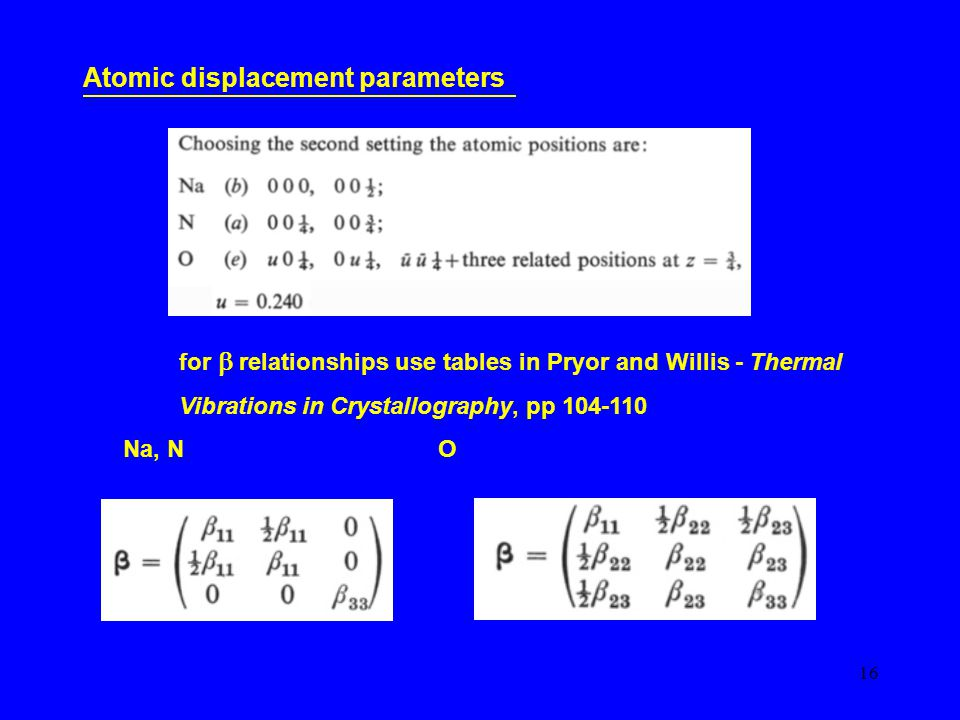 16 Atomic displacement parameters for  relationships use tables in Pryor and Willis - Thermal Vibrations in Crystallography, pp 104-110 Na, N O