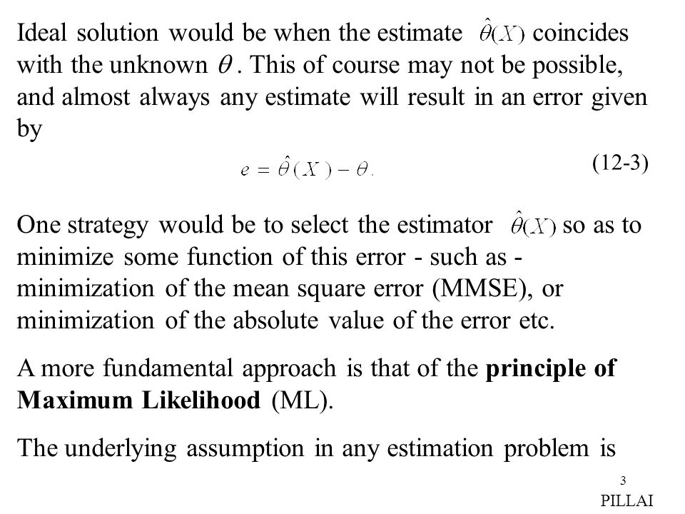 3 Ideal solution would be when the estimate coincides with the unknown .