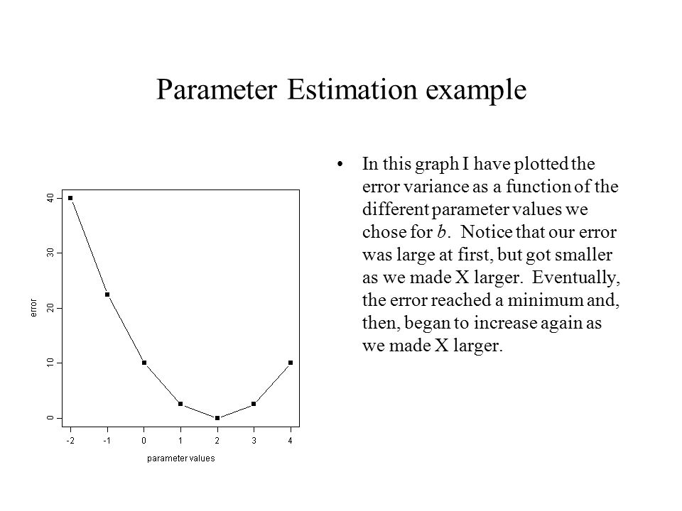Parameter Estimation example In this graph I have plotted the error variance as a function of the different parameter values we chose for b.