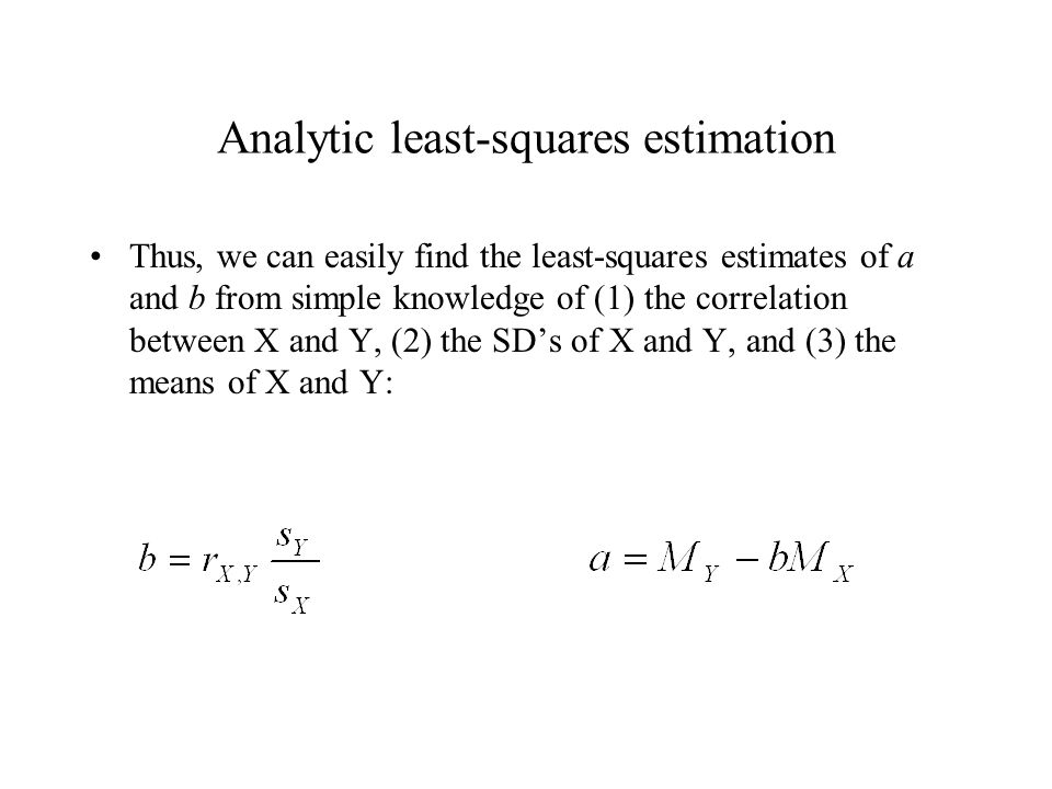 Analytic least-squares estimation Thus, we can easily find the least-squares estimates of a and b from simple knowledge of (1) the correlation between