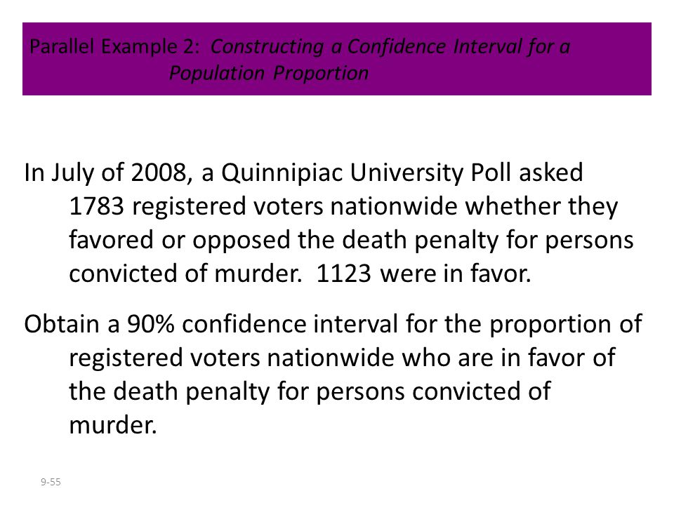 9-55 In July of 2008, a Quinnipiac University Poll asked 1783 registered voters nationwide whether they favored or opposed the death penalty for perso