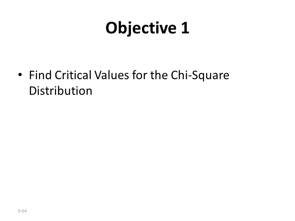 9-64 Objective 1 Find Critical Values for the Chi-Square Distribution