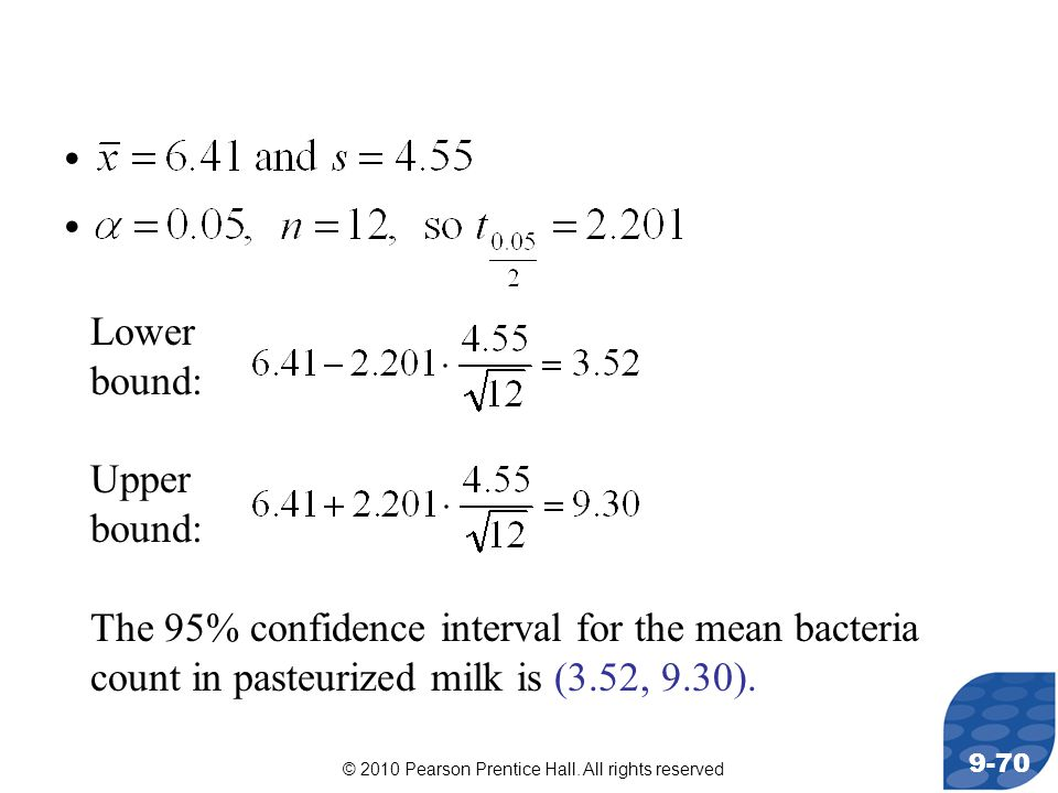 © 2010 Pearson Prentice Hall. All rights reserved 9-70 Lower bound: Upper bound: The 95% confidence interval for the mean bacteria count in pasteurize
