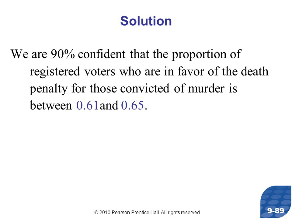 © 2010 Pearson Prentice Hall. All rights reserved 9-89 Solution We are 90% confident that the proportion of registered voters who are in favor of the