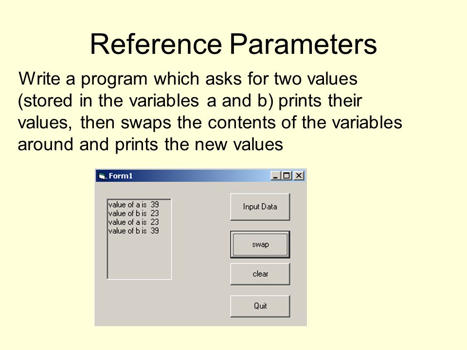 Reference Parameters Write a program which asks for two values (stored in the variables a and b) prints their values, then swaps the contents of the variables around and prints the new values
