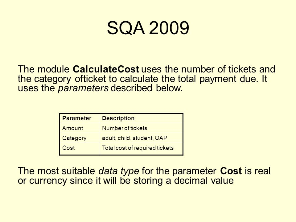 SQA 2009 The module CalculateCost uses the number of tickets and the category ofticket to calculate the total payment due.