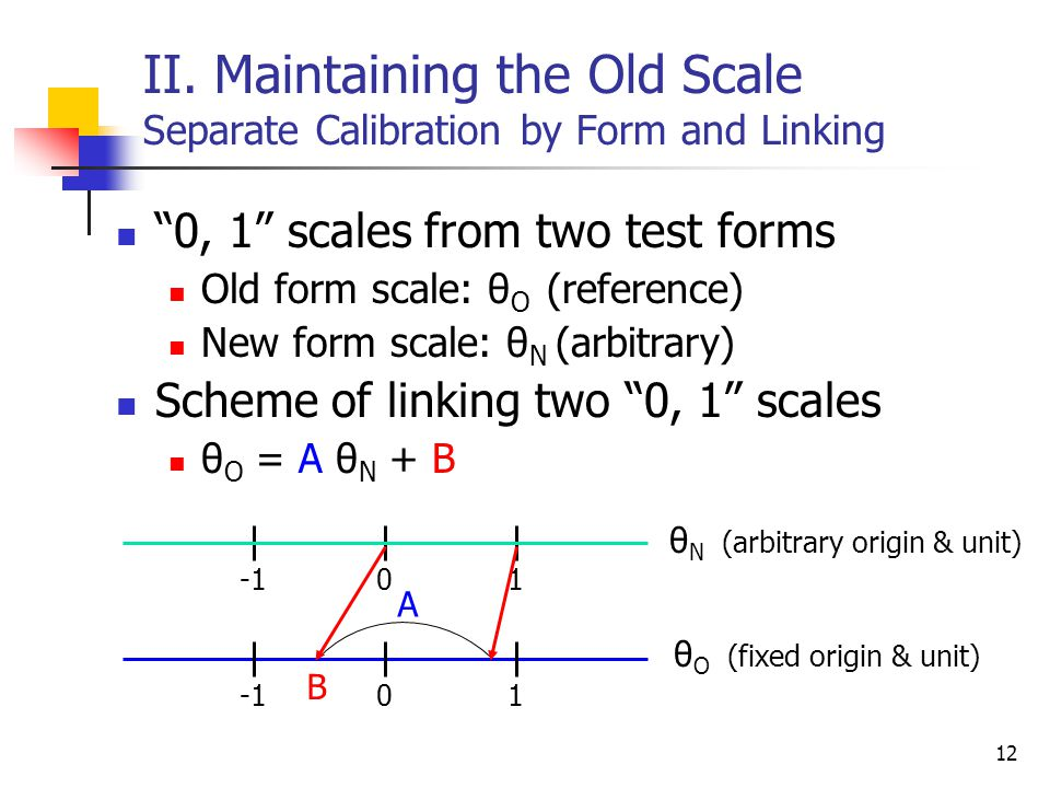 "12 II. Maintaining the Old Scale Separate Calibration by Form and Linking ""0, 1"" scales from two test forms Old form scale: θ O (reference) New form s"